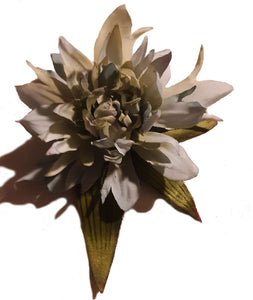 Grey and Pastel Dahlia Hair Flower