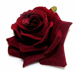 Dark Red Rose Hair Flower Clip and Pin Brooch