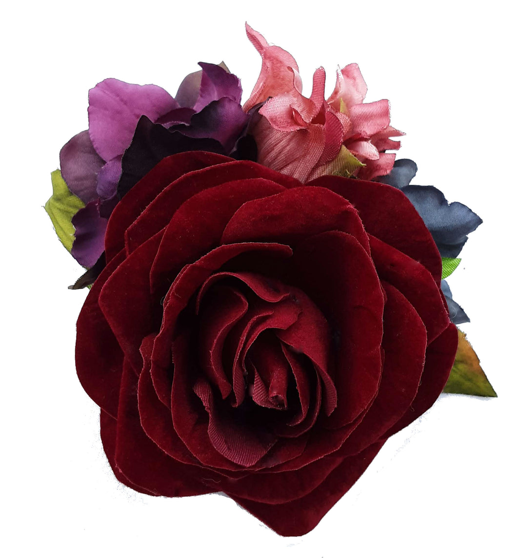 Burgundy Red Rose with Colorful Flower Clip