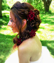 Load image into Gallery viewer, Small Dark Red Burgundy Rose Hair Flower Clips - Pair