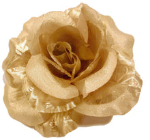 Load image into Gallery viewer, Gold Rose Hair Flower Clip