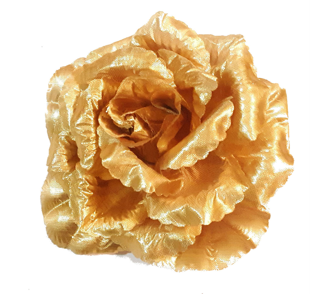 Gold Rose Hair Flower Clip and Pin Brooch