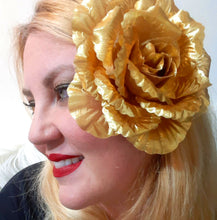 Load image into Gallery viewer, Gold Rose Hair Flower Clip and Pin Brooch
