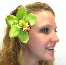 Load image into Gallery viewer, Gorgeous Lime Green Cymbidium Orchid Hair Flower Clip