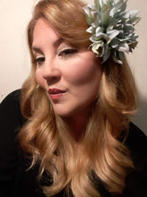 Load image into Gallery viewer, Gray Dahlia Hair Flower Clip and Brooch Pin