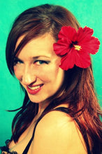 Load image into Gallery viewer, Classic Red Tropical Hibiscus Flower Hair Clip