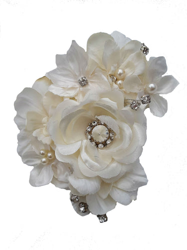Stunning Bridal Wedding Ivory White Hair Flower Clip with Rhinestones
