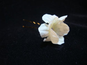 Small Ivory White Hair Flower Pins - Set of Six