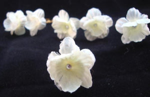 3/4 Inch Tiny Ivory Flowers with Crystal Center- Set of 6