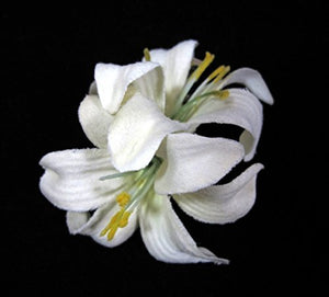 Small Ivory Double Lily Hair Flower Clips - Pair