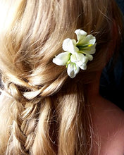 Load image into Gallery viewer, Small Ivory Double Lily Hair Flower Clips - Pair