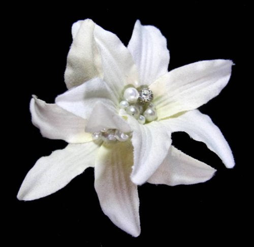 Ivory Lily with Pearl Hair Flower Clip