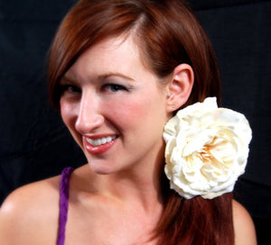 Large Ivory Neutral Open Rose Hair Flower Clip