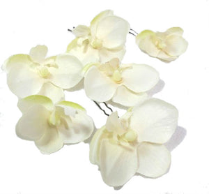 Small Ivory White Orchid Hair Flowers - Set of 6 Hair Pins