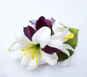 Small Ivory  Lily and Purple Flower Hair Clip