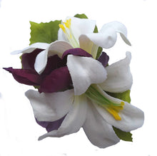 Load image into Gallery viewer, Small Ivory  Lily and Purple Flower Hair Clip