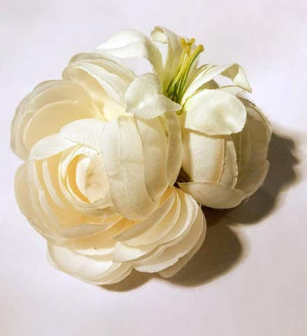 Ivory White Ranunculus Hair Flower with Lily