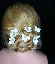 Load image into Gallery viewer, Small Ivory Satin and Pearl Cluster Flower Hair Pins - SET of 6