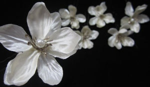Small Ivory Satin and Pearl Cluster Flower Hair Pins - SET of 6