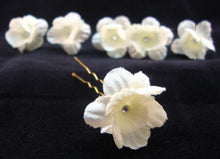 Load image into Gallery viewer, 3/4 Inch Tiny Ivory Flowers with Crystal Center- Set of 6