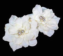 Load image into Gallery viewer, Pair of Ivory White Delphinium Flower Hair Clip with Crystals