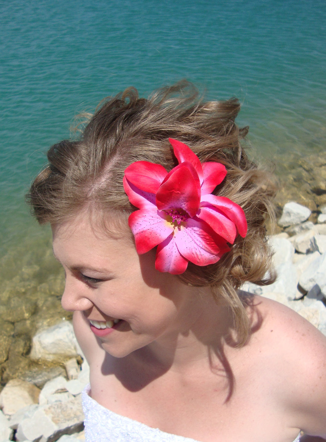 Pink and Red Lily Flower Hair Clip