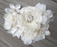 Load image into Gallery viewer, Stunning Bridal Wedding Ivory White Hair Flower Clip with Rhinestones