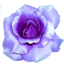 Large Purple Rose Hair Flower Clip Pin and Band