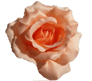 Large Peach Rose Hair Flower Clip Pin and Band