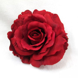 Large Full Crimson Red Rose Hair Flower Clip