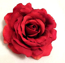 Load image into Gallery viewer, Large Full Crimson Red Rose Hair Flower Clip