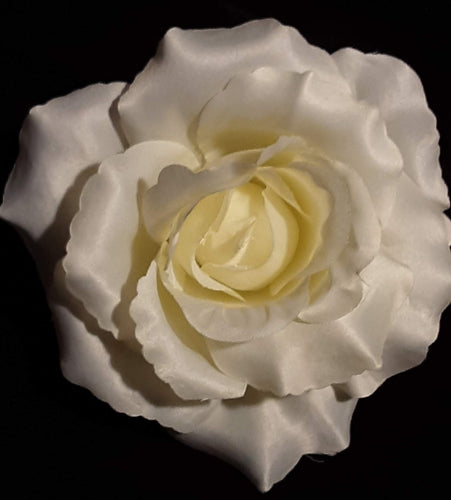 Large Ivory Rose Hair Flower Clip Pin and Band