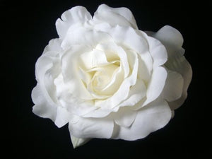 Large White Rose Hair Flower Clip