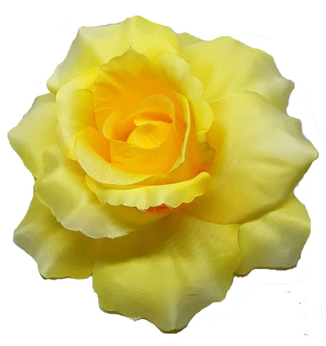 Large Yellow Rose Hair Flower Clip Pin and Band