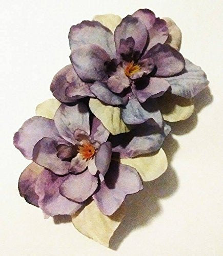 Lavender Light Purple Delphinium Flower Hair Clips PAIR
