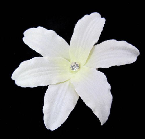 3 Inch Ivory Lily with Rhinestone Hair Flower Clip