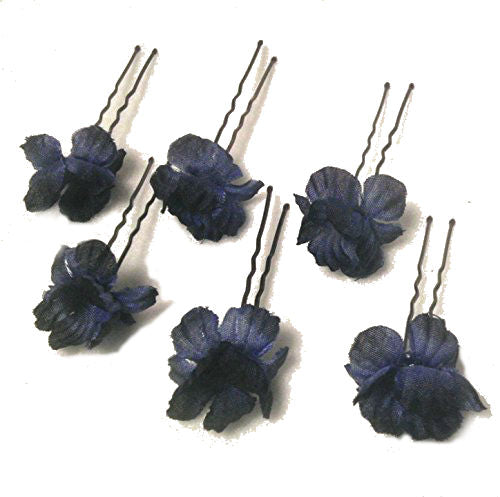 Navy Blue Small Flower Hair Pins - Set of 5