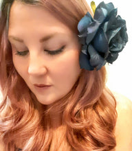 Load image into Gallery viewer, Navy Blue Midnight Rose Hair Flower Clip