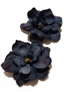 Navy Blue Delphinium Flower Hair Clips - Pair