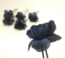 Load image into Gallery viewer, Navy Blue Small Flower Hair Pins - Set of 5