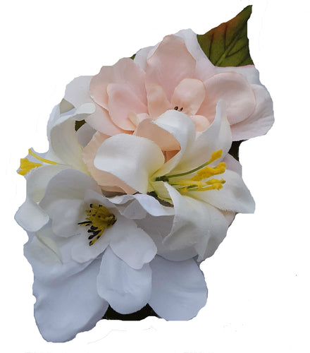 Cute Pink, Ivory and White Hair Flower Clip