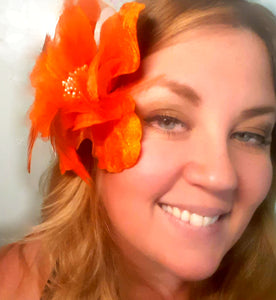 Orange Velvet Hair Flower Clip and Pin