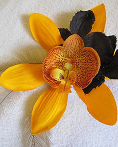 Orange and Black Hair Flower with Emu Feathers