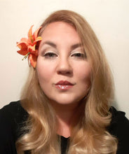 Load image into Gallery viewer, Double Orange Lily Flower Hair Clip