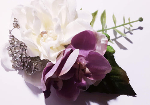 White Flower with Rhinestone Crystal and Orchids