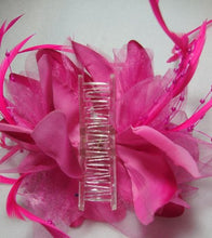Load image into Gallery viewer, Pink Feather Flower Hair Clip Claw
