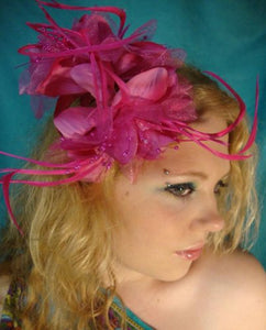 Pink Feather Flower Hair Clip Claw