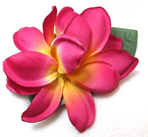 Bright Tropical Pink Plumeria Hair Flower Clip with Leaf