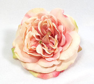 Luxe Peach Pink Open Rose Hair Flower Clip