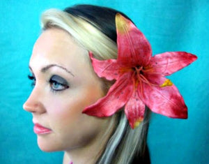 Pink Tiger Lily Flower Hair Clip